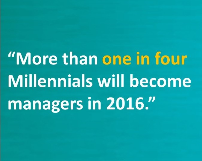 More than 1 in 4 Millennials will become managers in 2016.