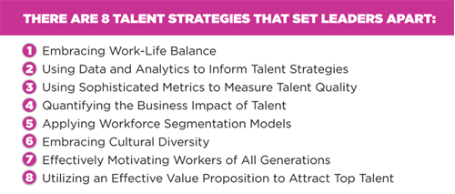 There are 8 definitive talent strategies that set leaders apart.