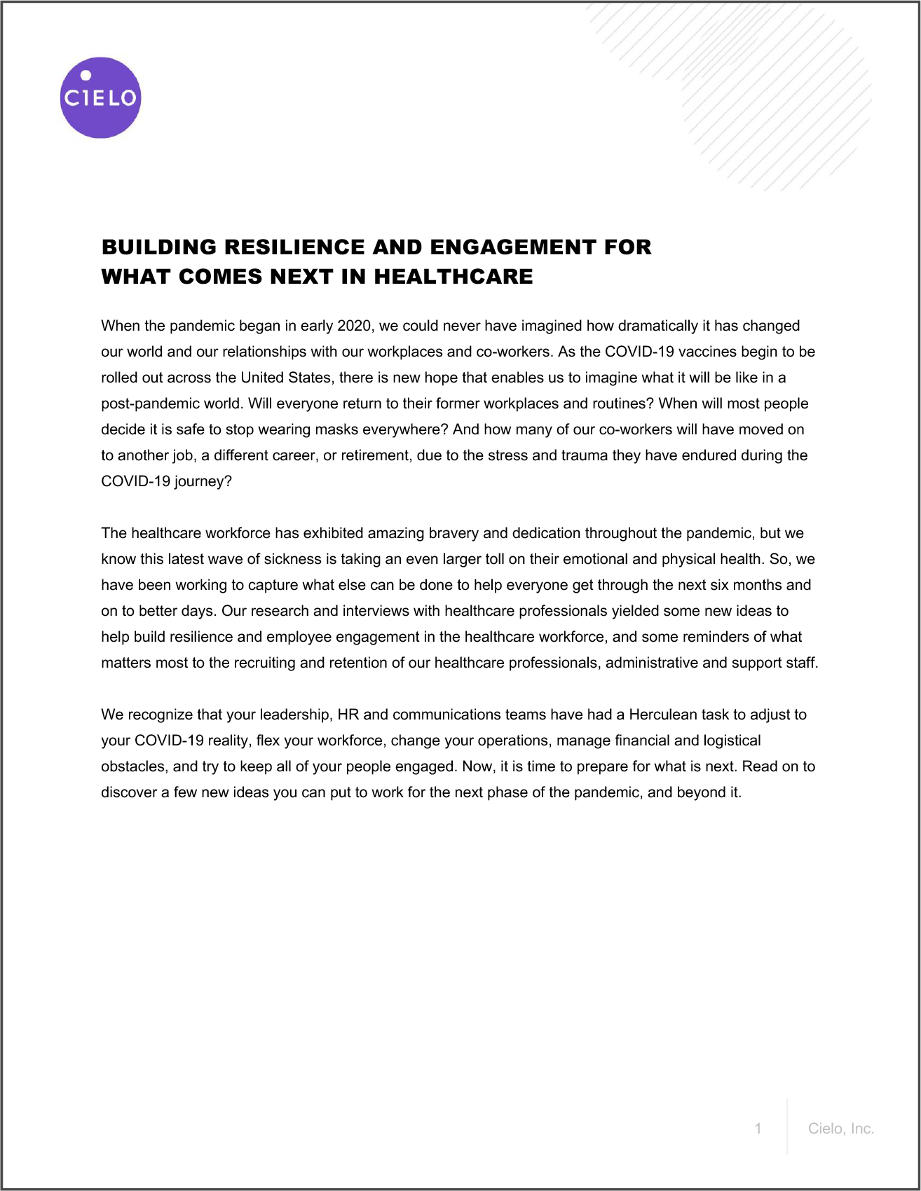 Cover page of Building Resilience and Engagement for What Comes Next in Healthcare