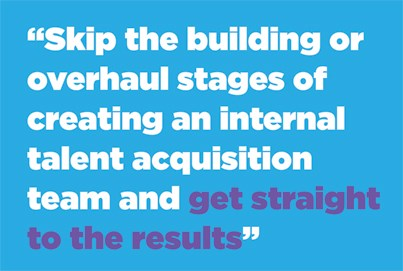 Skip the building or overhaul stages of creating an internal talent acquisition team and get straight to the results.